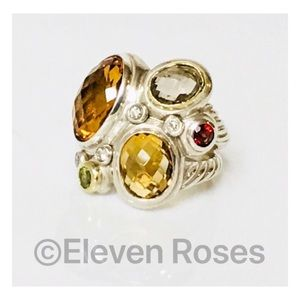 David Yurman Sterling 18k Multi Stone Mosaic Ring